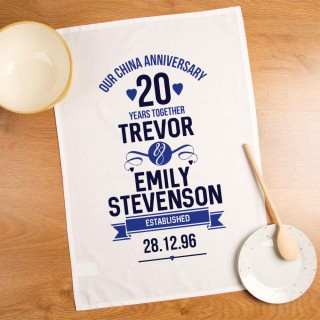 Personalised 20th Anniversary Printed Tea Towel