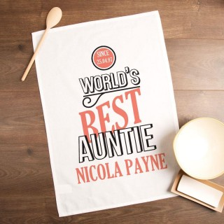 Customised Worlds Best Auntie Printed Tea Towel