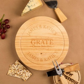 Engraved Grate Selection Round Cheeseboard