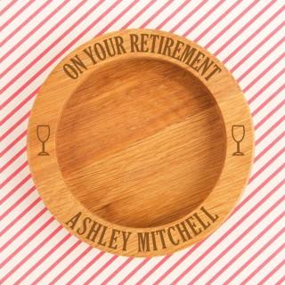 Bespoke On Your Retirement Oak Wine Bottle Coaster