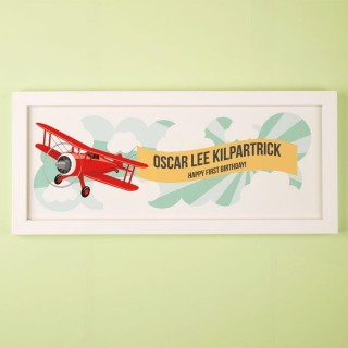 Customised 1st Birthday Aeroplane Framed Print