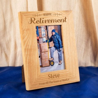 Personalised Retirement Engraved Oak Frame