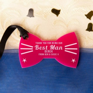 Laser Engraved Best Man Thank You Acrylic Bow Tie