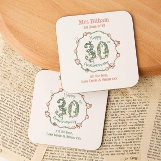 Personalised 30th Pearl Anniversary Double Coaster Set