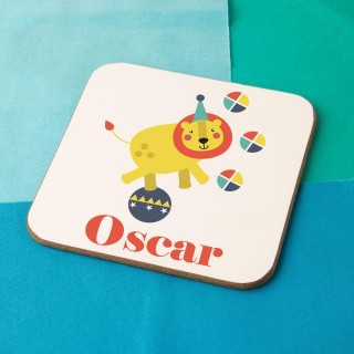 Personalised Circus Lion Drinks Coaster