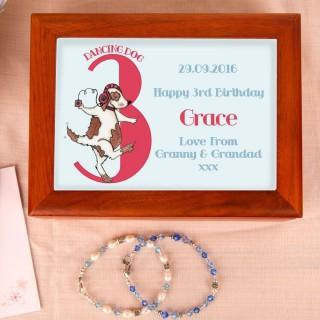 Dog 3rd Birthday Customised Musical Jewellery Box
