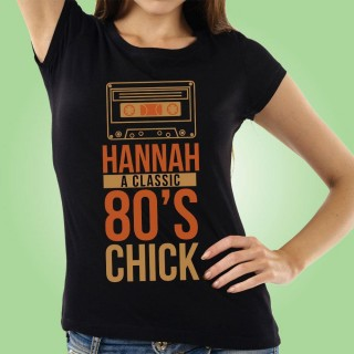 Bespoke 80s Chick Retro Black Womens T-shirt