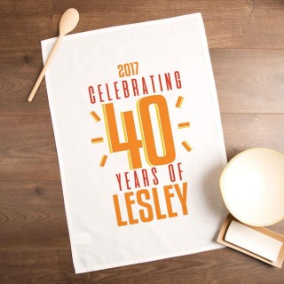 Personalised 40th Birthday Printed Tea Towel