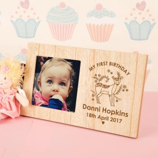 Personalised My First Birthday Photo Frame – Engraved Deer Design
