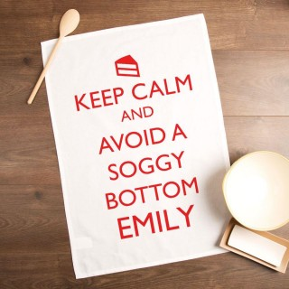 Customised Keep Calm & Avoid a Soggy Bottom Tea Towel