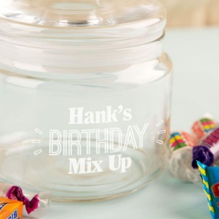 Bespoke Birthday Glass Sweetie Jar