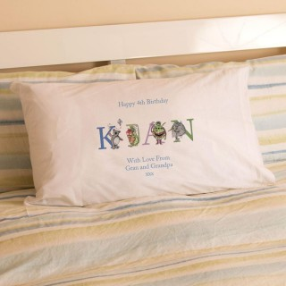 Personalised Boys Birthday Name Illustration Pillowcase