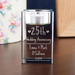 Engraved Anniversary Glass TeaLight Holder
