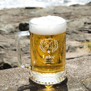 Customised Engraved 21st Wreath Glass Beer Tankard: Special Offer