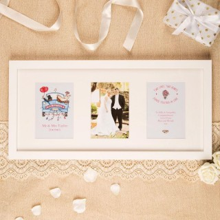 Personalised Wedding 3 Aperture Frame: Traditional Design