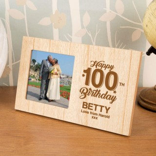 Personalised 100th Birthday Wooden Photo Frame