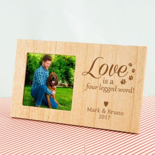 4 Legged Word Personalised Pet Wooden Photo Frame