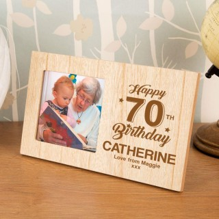 Personalised 70th Birthday Wood Photo Frame