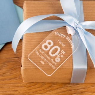 80th Birthday Acrylic Gift Tag