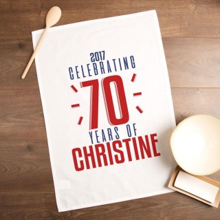 Personalised 70 Years of...Tea Towel