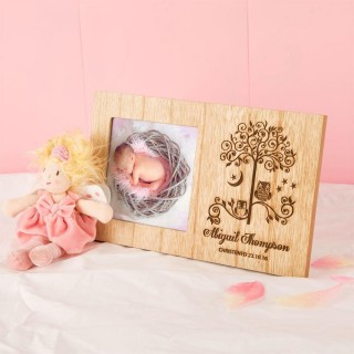 Owls Wooden Christening Frame for a Girl