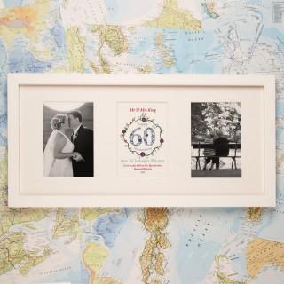 Personalised 60th Diamond Wedding Anniversary 3 Aperture Frame