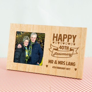 Personalised 40th Anniversary Wooden Photo Frame