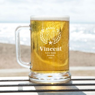 Engraved 60th Wreath Customised Glass Pint Tankard: Special Offer