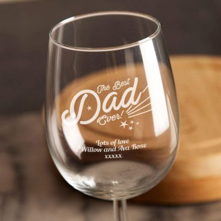 Best Dad Ever Personalised Wine Glass
