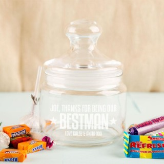 Best Man Custom Glass Sweet Jar