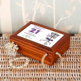 Personalised 21st Birthday Musical Jewellery Box