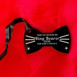 Laser Engraved Ringbearer Thank You Acrylic Bow Tie