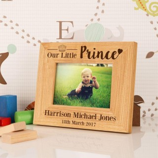 Personalised Our Little Prince Oak Frame