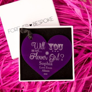 Personalised Will You Be My Flower Girl Acrylic Heart