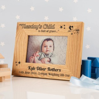 Tuesdays Child Personalised Photo Frame