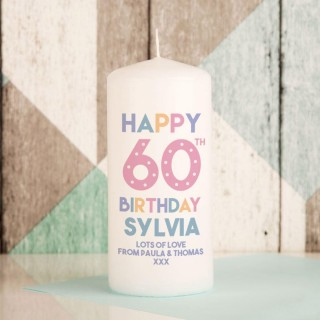 Happy 60th Birthday Customised Pillar Candle