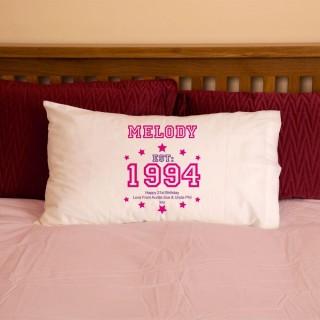 Girls 21st Birthday Established Year Pillowcase