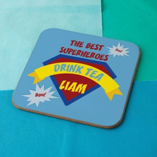 Colourful Superheroes Personalised Drinks Coaster