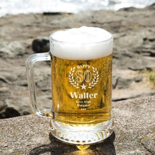 Customised 80th Wreath Engraved Glass Beer Tankard: Special Offer