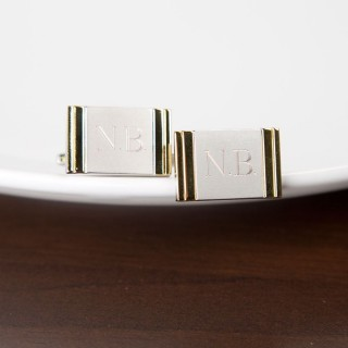 Silver With Gold Edge Cufflinks