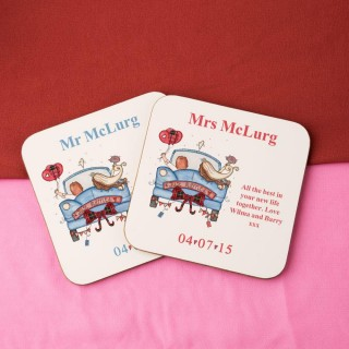 Personalised Scottish Bride and Groom Double Coaster Set