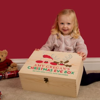 Santa and Reindeer Personalised Keepsake Christmas Eve Box