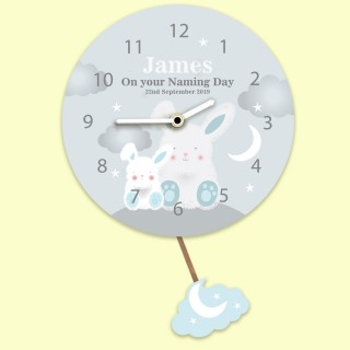 Baby Boy Starry Night Bunny Rabbit Customised Pendulum Wall Clock. Any Occasion.