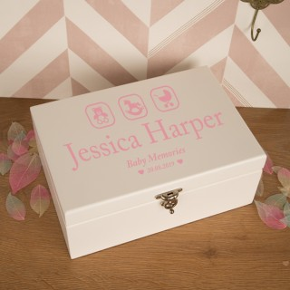 Pink Baby Girl Memory Box with Teddy, Rocking Horse and Pram
