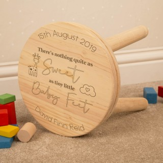 Baby Feet Wooden Keepsake Stool for Boy or Girl