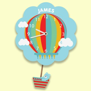 Personalised Hot Air Balloon Clock for a Boy