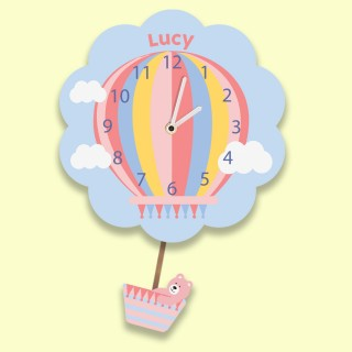 Personalised Pink Hot Air Balloon Wall Clock