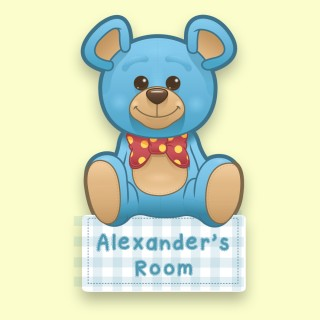 Customised Blue Teddy Bear Bedroom Door Plaque for a Boy