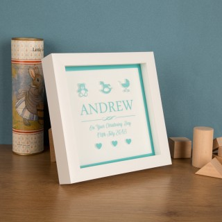Bespoke 3D Keepsake Christening Box Frame for a Baby Boy