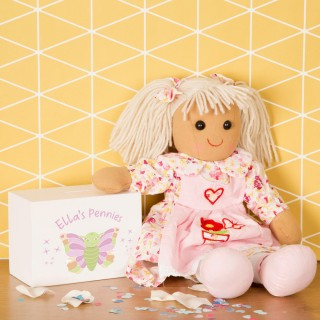 Personalized Wooden Money Box for a Girl with Butterfly Design